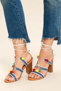 Delia White Lace-Up Pompom Heels