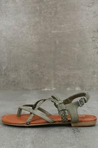 Mia Dannie Spring Khaki Flat Sandals