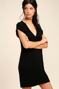 True Feelings Black Shirt Dress