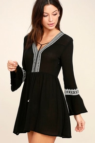 Daydreaming of You Black and White Embroidered Dress