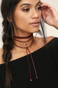 Cosmic Dancer Gold and Burgundy Wrap Necklace