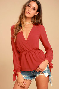 Mutual Attraction Red Long Sleeve Top