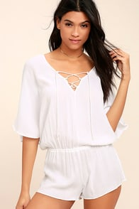 Tavik Venise White Lace-Up Romper