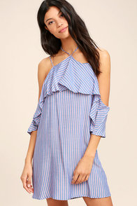 Ready or Yacht Blue Striped Off-the-Shoulder Dress