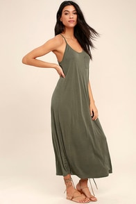PPLA Frida Olive Green Midi Dress