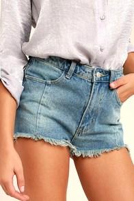 Brighten Your Day Light Wash Cutoff Denim Shorts