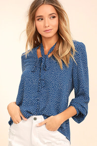 On the Spot Denim Blue Polka Dot Button-Up Top