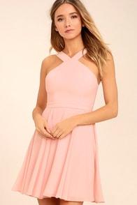 Forevermore Light Pink Skater Dress
