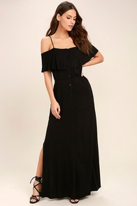 Life's Wonders Black Off-the-Shoulder Maxi Dress