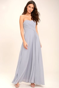 Romantic Ballad Grey Strapless Maxi Dress