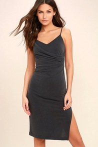 Swept Up Charcoal Grey Bodycon Midi Dress