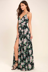 Legendary Romance Black Floral Print Wrap Maxi Dress