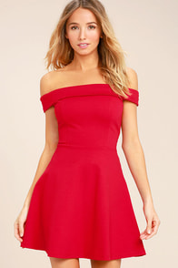 Season of Fun Red Off-the-Shoulder Skater Dress
