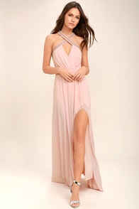 My Love Has Come Along Blush Pink Beaded Maxi Dress