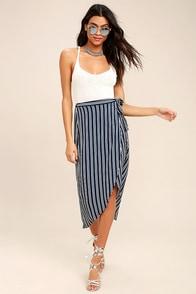 Start Anew Blue and White Striped Wrap Midi Skirt