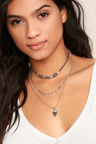 Terrific Hieroglyphics Black and Silver Layered Choker Necklace