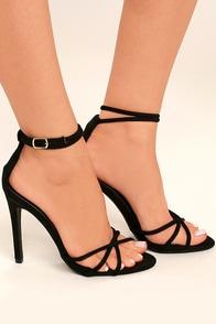 Damita Black Suede Ankle Strap Heels