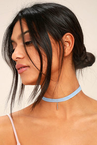 Denim Days Blue and Silver Denim Choker Necklace