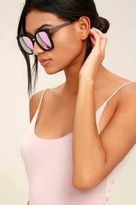 Quay Capricorn Black and Pink Mirrored Sunglasses