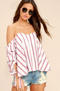 Someone Special Red And White Striped Off-the-Shoulder Top at Lulus.com!