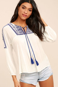 Smiling Eyes Blue and White Embroidered Top
