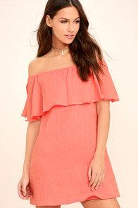 Hello Sunshine Coral Orange Off-the-Shoulder Dress