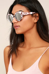 Pamper Me White Marble and Silver Mirrored Sunglasses