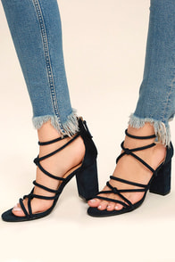 Caley Navy Suede Ankle Strap Heels