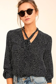 On the Spot Black Polka Dot Button-Up Top
