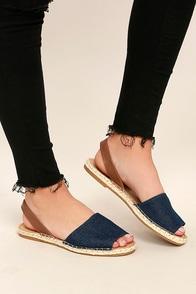 Oceanic Blue Denim Espadrille Sandals