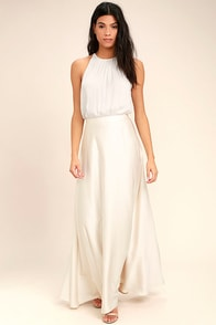 Picture Perfect Cream Satin Maxi Skirt at Lulus.com!