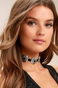 Just Call My Name Silver and Black Choker Necklace