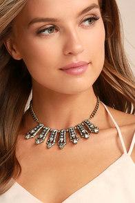 Take a Chance Gold Rhinestone Choker Necklace