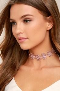 Daisy Daze Pink Lace Choker Necklace