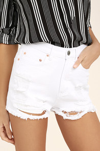 Wreck-Reational Activity White Destroyed Denim Shorts