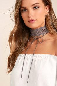 Victorian Era Grey Lace Necklace Set