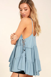 Breathe Easily Light Blue Lace-Up Top