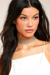 Dancing With You Teal Blue Lace Choker Necklace