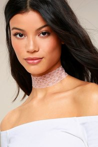 Swoon as Possible Blush Pink Lace Choker Necklace
