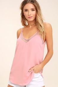 Sweet Fling Mauve Pink Mesh Tank Top