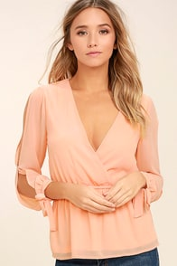 Mutual Attraction Peach Long Sleeve Top