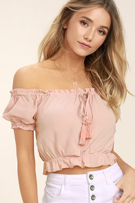 Plant a Garden Blush Pink Off-the-Shoulder Crop Top