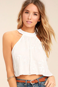 Lucy Love Victoria White Embroidered Crop Top