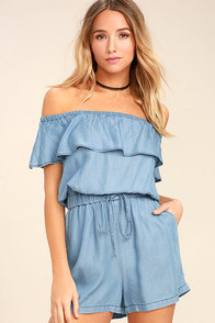PPLA Colt Blue Chambray Off-the-Shoulder Romper