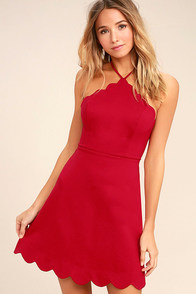 Your Everything Red Backless Skater Dress