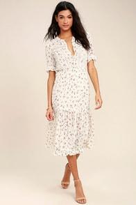 Answered Prairie Lace Cream Floral Print Midi Dress