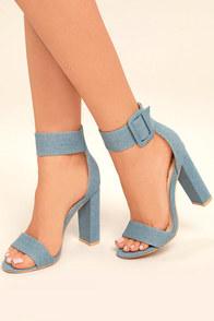 Mandara Denim Ankle Strap Heels