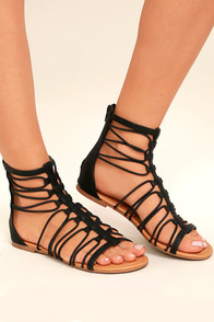Jora Black Gladiator Sandals