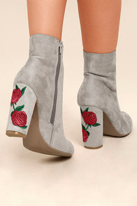 Gitana Light Grey Suede Embroidered Mid-Calf Boots