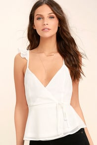 Totally In Love White Wrap Top